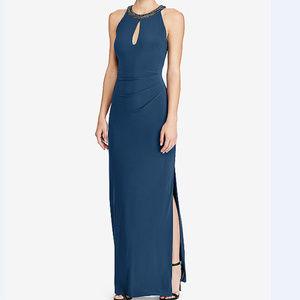 Ralph Lauren Teal Sleeveless Beaded Formal Gown